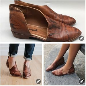 Free People Royale brown leather d'Orsay flats